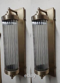 Pair Vintage Antique Art Deco Brass & Glass Rod Light Fixture Wall Sconces Lamp