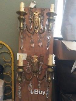 Pair Vintage Antique Brassvictorian Gold & Crystal Prism Candelabra Wall Sconces