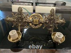 Pair Vintage Brass Wall Sconce Light Fixture Made In Spain