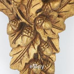 Pair Vintage Carved Wood Wall Shelf / Sconce Gilt Ornate Oak Leaf Acorn Design