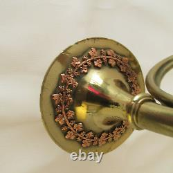 Pair Vintage Copper and Brass French Horn Candle Wall Sconces