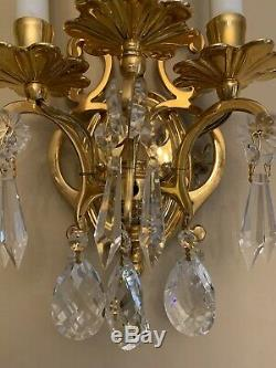 Pair Vintage French Colonial Crystal Brass 3 Light Wall Sconce Lamp