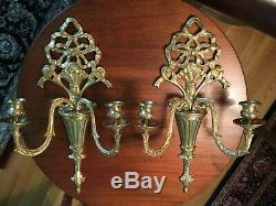 Pair Vintage Gilt Bronze French Louis XVI Style Bow Candelabra Wall Sconces