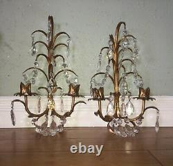 Pair Vintage Gold Gilt Italy Florentine & Crystal Wall Sconce Fixture