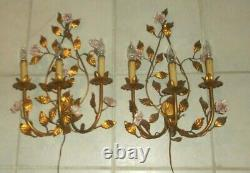 Pair Vintage Gold Painted Metal Floral 3 Light Electric Light Wall Sconces