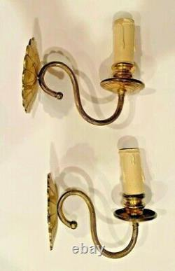 Pair Vintage Indoor Traditional Gold Brass Wall Mounted Light Sconces withShades