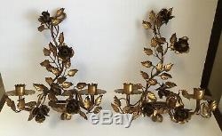 Pair Vintage Italian Gilt Gold Roses 2 Light Tole Metal Wall Sconces