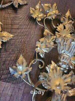 Pair Vintage Italian Gilt Gold Tole Flower Candle Wall Sconces Fixture Free ship