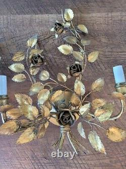 Pair Vintage Italian Gilt Gold Tole Flower Electric Light Wall Sconces Fixture