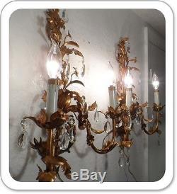 Pair Vintage Italian Tole Gilt Wall 2 Light Sconces Gorgeous Antique