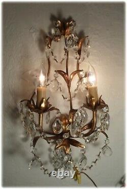 Pair Vintage Mid Century Italian Gilt Tole & Crystal Light Petite Wall Sconces