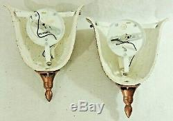 Pair Vintage Miranda Feiss 12 Hand Painted Gold Electric Wall Light Sconces
