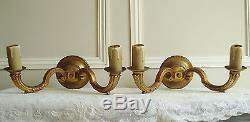 Pair Vintage Sconces Bronze Wall Lights French Chateau Style Appliques Anciennes