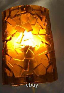 Pair Vitrika MCM wall lamps sconces glass Made in Sweden Funky Retro