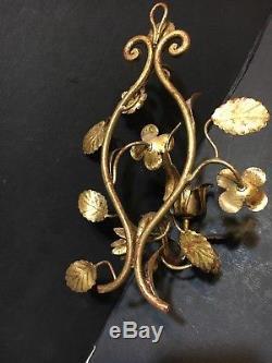 Pair Vtg Antique Tole Floral Gilt Branch Wall Hanging Light Candle Sconces Gold