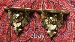 Pair Vtg Carved Wood Wall Sconce Shelf Italian Gold Hollywood Regency MCM Italy