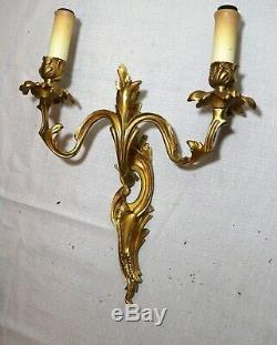 Pair antique ornate dore bronze Rococo wall mount candle sconce fixtures brass