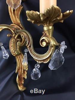 Pair french Antique Louis XV bronze wall light sconces fixtures crystal pendants