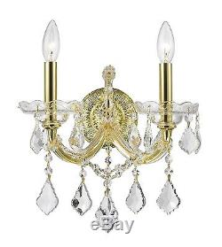 Pair of 2-Light Gold Finish D 12 H 16 Maria Theresa Clear Crystal Wall Sconce