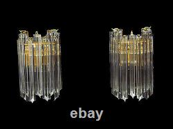 Pair of 2 Murano Glass Wall Sconces, each with 9 glass prisms, Venini Style