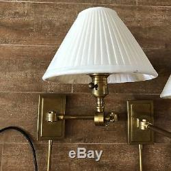 Pair of 2 Robert Abbey Brass Kinetic Swing Arm Lamp Industrial light wall sconce