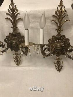 Pair of 2 antique Victorian ornate brass electric wall sconces 2 Lights 16x10