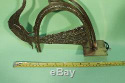 Pair of Antique ART DECO Wall Sconces Amazing Design of Peacocks in Solid Brass