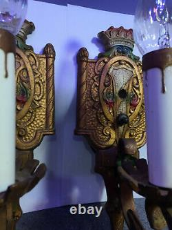 Pair of Antique Electric Art Nouveau Painted Cast Iron PAT. Wall Sconces