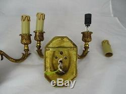 Pair of Antique French Bronze Wall Sconces Ram Heads