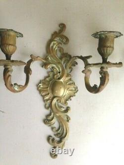 Pair of Antique French Rococo Bronze Candle Wall Sconces Candleabras