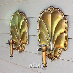 Pair of Antique French wall sconces, hammered gilded copper