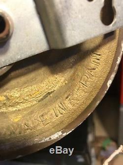 Pair of Antique Spanish Gold guild Tudor Brass Wall Lamp Light Fixture Sconces