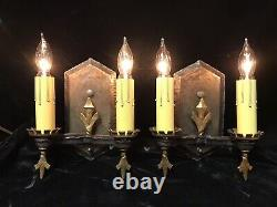 Pair of Antique Tudor Gothic Medieval Double Candle Wall Sconce Lights- Rewired