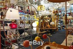 Pair of Bath Vanity Vintage Lights Sconces Wall Lamps Glass Brass Doria 60s 70s