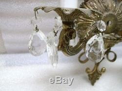 Pair of Brass & Crystal Regency Style Sconces Vintage Antique Style Wall Lights