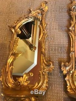 Pair of Chelsea House mirrored gold wall sconces