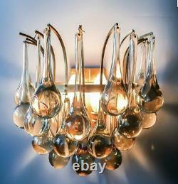 Pair of Christoph Palme (Plawa) Tear Drop Crystal Glass Gilt Brass Sconces 1970s