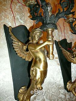 Pair of Empire Style Candelabras Wall Sconces Winged Mermaids Cariatides 19x7