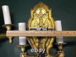 Pair of Fine Art Deco Painted Brass Wall Sconces Light Fixtures