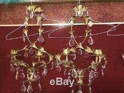 Pair of French Empire Style Gilt Metal 2 Candle Wall Sconces Crystal Tear drop