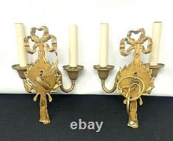 Pair of French Louis XV Style Wall Sconces Bow And Tassel