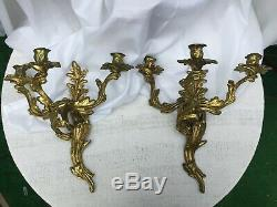 Pair of French Rococo Style Bronze Candle Wall Sconces 3 Arm Candelabras Gold