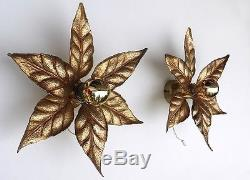 Pair of Gilt Brass LEAF WALL SCONCES by Massive Lighting, Belgium 1970s