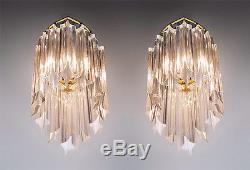 Pair of Gold Plated Wall Sconces with Crystal Glass by PALWA, Germany 1960's