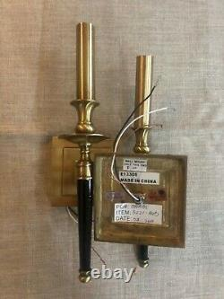 Pair of Hudson Valley 5221-AGB Salina 1-Lt Wall Sconce, Aged Brass