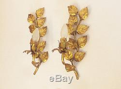 Pair of Italian GILT LEAF Wall Mounts WALL SCONCES 1950s
