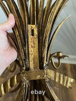 Pair of Italian Gilt Metal Wheat Sheaf Wall Sconces Candle Wall Sconces 27