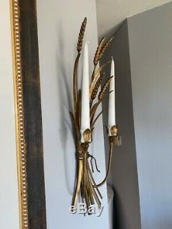 Pair of Large Vintage Italian Florentine Tole Gilt Wheat Wall Candle Sconces
