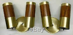 Pair of Mid Century Modern 1970s Gold & WOODGRAIN Wall Sconces Light Fixtures