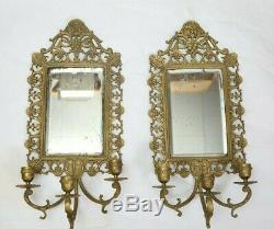 Pair of Neoclassical Bacchus Brass Bronze Beveled Mirrored Candle Wall Sconces